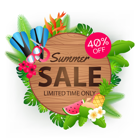 Summer sale offer banner decorative element with its symbol,modern and fashionable design,vector illustration Ilustrace