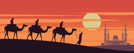 caravan Muslim ride camel to mosque of Dubai on sunset time,the tradition of Arabian,silhouette design,vector illustration Фото со стока - 124946378