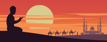 L'uomo musulmano prega mentre la carovana musulmana cavalca il cammello alla moschea di Dubai all'ora del tramonto, la tradizione dell'arabo, il design della siluetta, l'illustrazione vettoriale Vettoriali