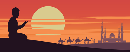 Muslim man pray while caravan Muslim ride camel to mosque of Dubai on sunset time,the tradition of Arabian,silhouette design,vector illustration