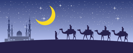 caravan Muslim ride camel to mosque of Dubai at night full of stars and beautiful moon,the tradition of Arabian,silhouette design,vector illustration Фото со стока - 124946381