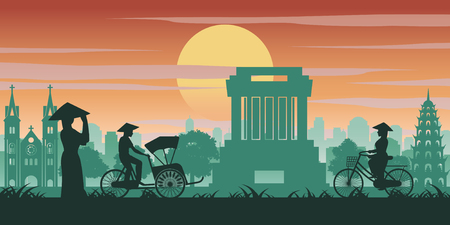 Vietnamese woman and man ride bicycle pass landmark of Vietnam,vintage color with sunset time tone,vector illustration 일러스트