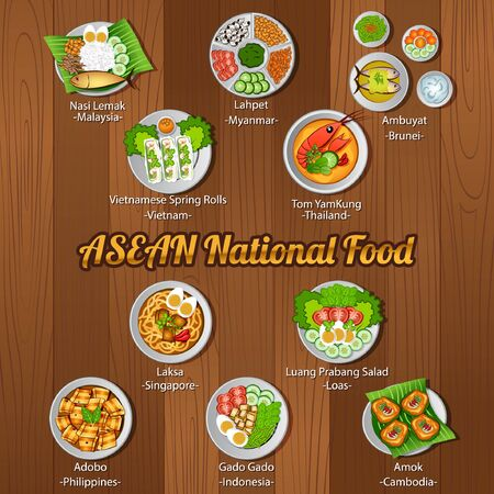 ASEAN national delicious and famous food.with wooden background,vector illustration Stock fotó - 124946386