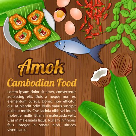 Asean National food ingredients elements set banner on wooden background,Cambodia,vector illustration