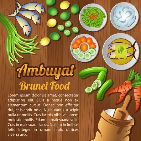Asean National food ingredients elements set banner on wooden background,Brunei,vector illustration