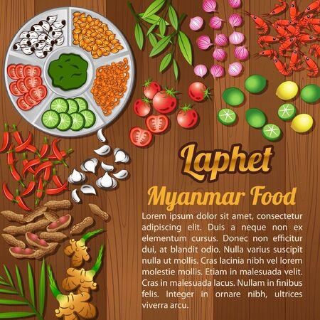 Asean National food ingredients elements set banner on wooden background,Myanmar,vector illustration