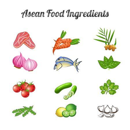 asean food ingredients set bundle include vegetables and meat in gradient cartoon design,vector illustration