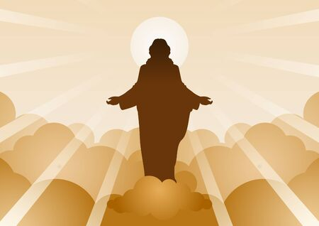 Jesus Christ with light and cloud backward mean begin of hope,belief and faith,vector illustration Stock Illustratie