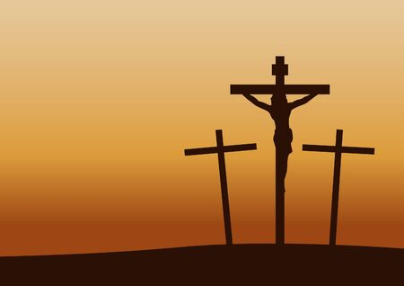 calvary crucifixion on sunset time,important happen in Christianity history,vector illustration Stock Illustratie