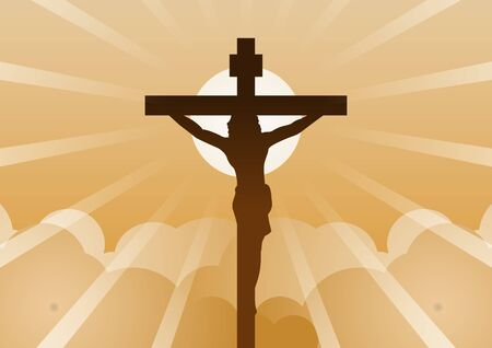 Christian cross with Jesus Christ with light and cloud backward mean begin of hope,belief and faith,vector illustration
