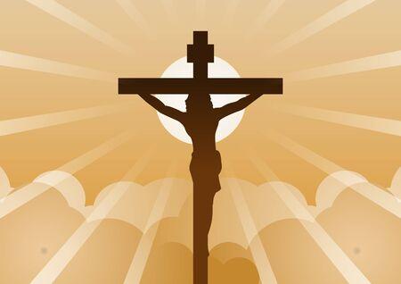 Christliches Kreuz mit Jesus Christus mit Licht und Wolke rückwärts bedeutet Anfang der Hoffnung, des Glaubens und des Glaubens, Vektorgrafik Vektorgrafik