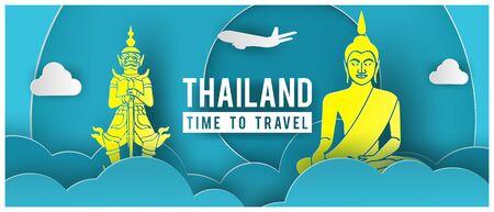 Banner de promoción de viajes con texto de precio especial y monumentos famosos de Tailandia en diseño de arte en papel, ilustración vectorial