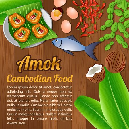 National food ingredients elements set banner on wooden background, Cambodia, vector illustration