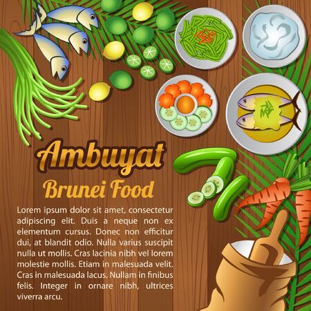 National food ingredients elements set banner on wooden background, Brunei, vector illustration