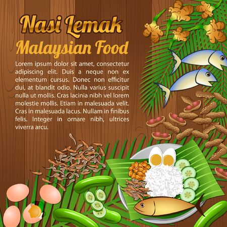 National food ingredients elements set banner on wooden background, Malaysia, vector illustration Çizim