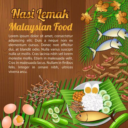 National food ingredients elements set banner on wooden background, Malaysia, vector illustration Illustration