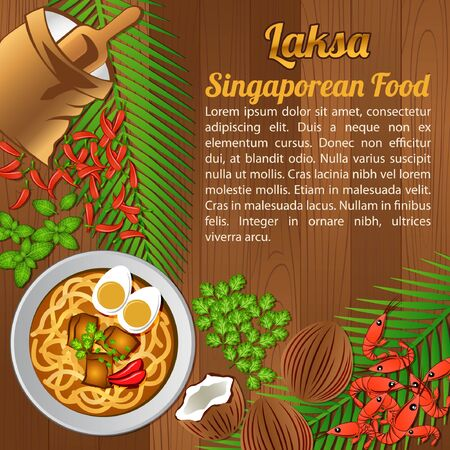 National food ingredients elements set banner on wooden background, Singapore, vector illustration