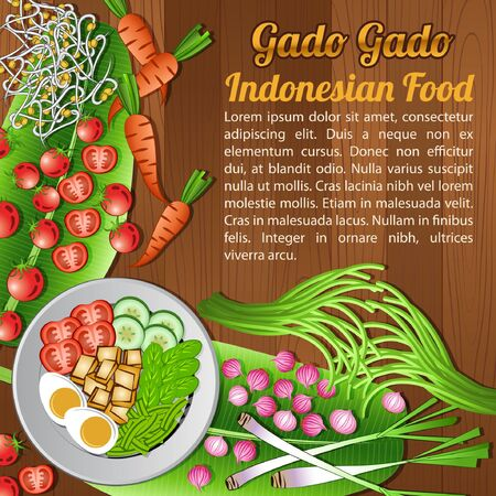 National food ingredients elements set banner on wooden background, Indonesia, vector illustration Çizim