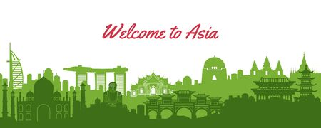 famous landmark of Asia, travel destination with silhouette classic design, vector illustration