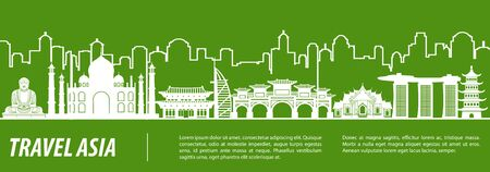 Asia famous landmark silhouette with green and white color design, vector illustration Çizim