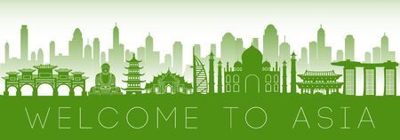 Asia famous landmark green silhouette design, vector illustration