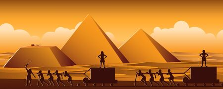Building Pyramid in Egypt in ancient time use men to be slave the whole day, cartoon version, vector illustration Çizim