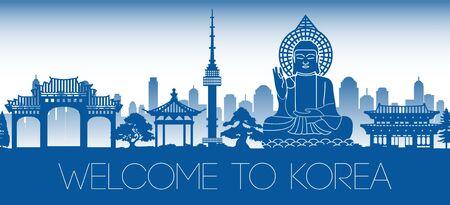 Korea berühmtes Wahrzeichen blaues Silhouettendesign, Vektorillustration