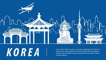 Korea famous landmark silhouette with blue and white color design, vector illustration Çizim