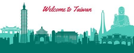 famous landmark of Taiwan, travel destination with silhouette classic design, vector illustration
