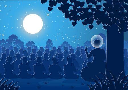 Señor de Buda sermón dharma a multitud de monjes