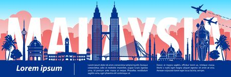 Malaysia famous landmark silhouette style, text within, vector illustration