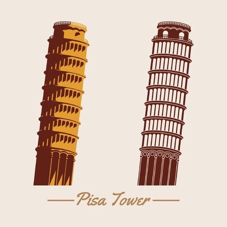 Pisa tower within two design, silhouette and cartoon version, famous landmark and travel of Italy, vector illustration