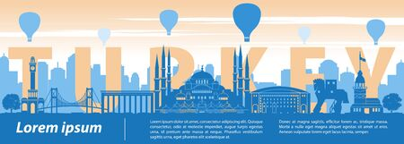 Turkey famous landmark silhouette style, text within, sunset time, balloon above, vector illustration