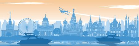 Russia famous landmark in back of river and yacht in scenery style silhouette design in blue and orange yellow color, vector illustration Çizim