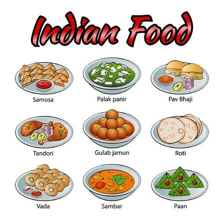 Set di cibo delizioso e famoso dell'indiano in un'icona di design sfumato colorato, illustrazione vettoriale