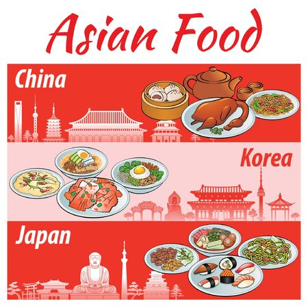 Set of delicious and famous food banner of Asia Japan, China, Korea in colorful gradient design and landmarks, vector illustration