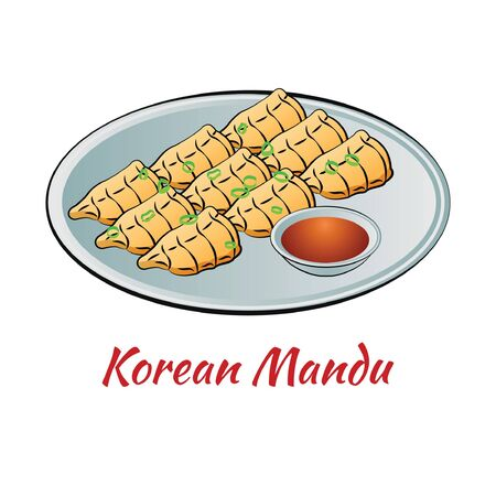 Set of delicious and famous food of Korean in colorful gradient design icon, vector illustration
