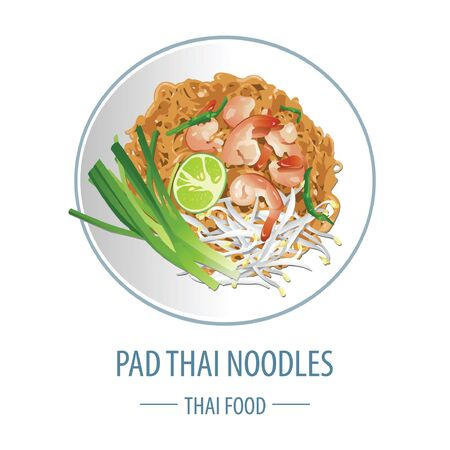 Pad Thai famous Thai food, realistic with top view style, vector illustration Иллюстрация