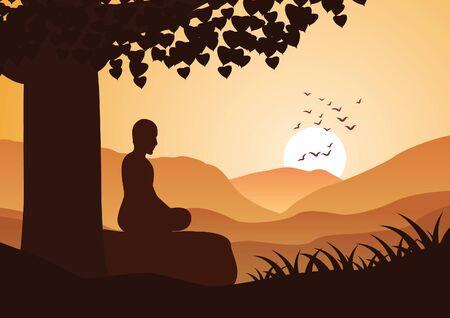 Moine méditation s'asseoir sur la montagne face au soleil avec calme, illustration vectorielle
