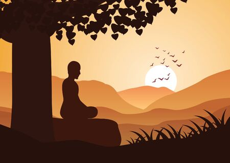 monk meditation sit on mountain face  to sun with calm,vector illustration
