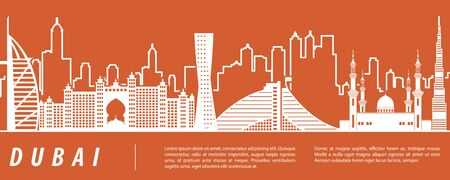 Dubai famous landmark silhouette with  orange and white color design, vector illustration Ilustrace