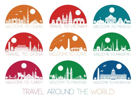World famous landmark silhouette style inside by multiple and bright half circle shape, vector illustration Ilustrace