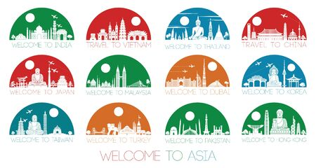 Asia famous landmark silhouette style inside by multiple and bright half circle shape, vector illustration