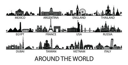 famous landmark of country in Asia Europe and America silhouette style with black and white classic color design include by country name, vector illustration Ilustrace