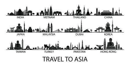 famous landmark of country in Asia silhouette style with black and white classic color design include by country name, vector illustration