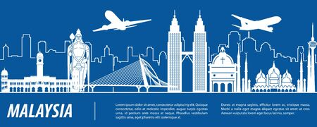 Malaysia famous landmark silhouette with blue and white color design, vector illustration