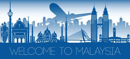 Malaysia famous landmark blue silhouette design, vector illustration Çizim