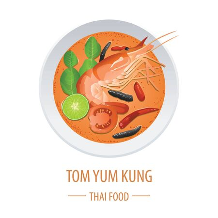 Tom Yum Kung famous Thai food, realistic with top view style, vector illustration