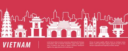 Vietnam famous landmark silhouette with  red and white color design, vector illustration