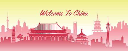 famous landmark of China, travel destination with silhouette classic with national flag color design, vector illustration